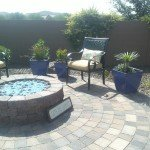 Fire pit, pavers - Victor's landscaping
